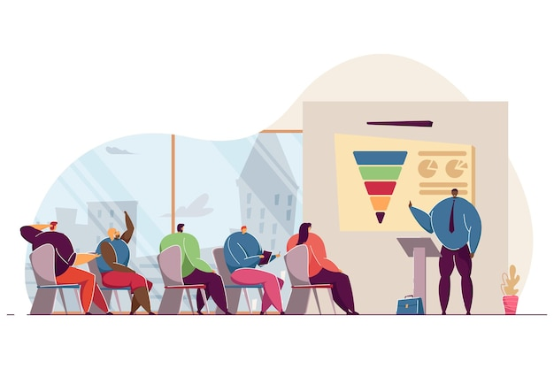 Business people listening to speaker at seminar. flat vector illustration. group of men and women sitting office at mentor lecture and learning. presentation, business, education, office concept