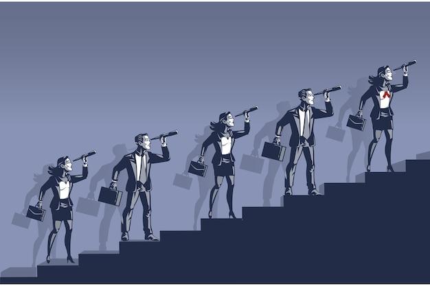 쌍안경을 통해 찾고 비즈니스 사람들. 미래 경력을 감시하는 사람들의 일러스트 컨셉