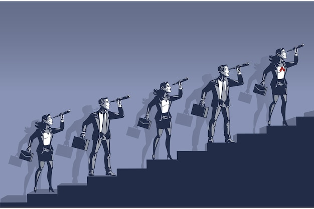 Business people looking through binocular. illustration concept of people spying future career