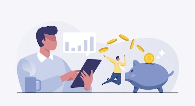 Деловые люди зарабатывают деньги в интернете. рост инвестиций. счастливый бизнесмен, торгующий акциями.
