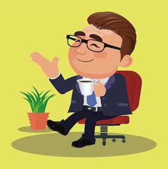 휴식을 취하고 커피를 마시는 비즈니스 사람들