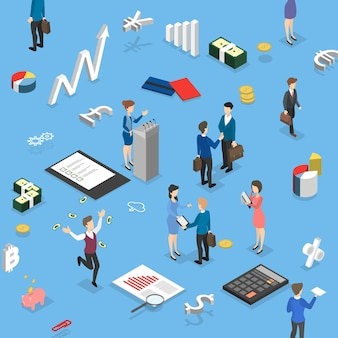 Business people making financial operations. business meeting and handshake deal. isometric vector illustration