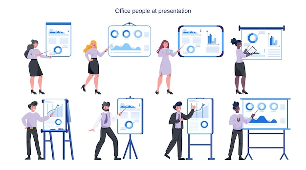 Business people making presentation. woman and man pointing