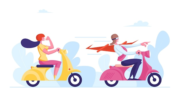 Business people male and female characters riding scooters