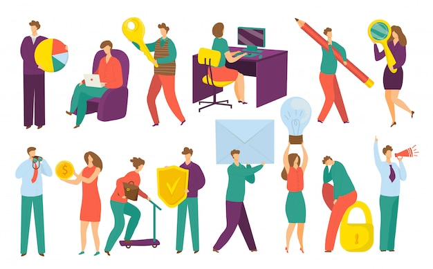 Business people, managers, executives, set of  on white  illustrations. professional businessmen and businesswomen work on computer, holding graphs, money, keys and business symbols.