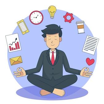 Деловые люди медитируют в позе лотоса