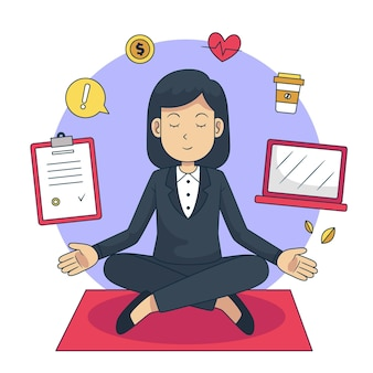 Business people meditating in lotus position
