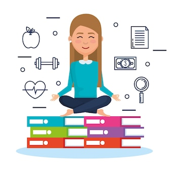 Business people meditation lifestyle with business elements illustration design