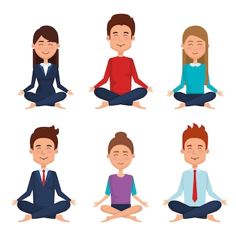 Business people meditation lifestyle