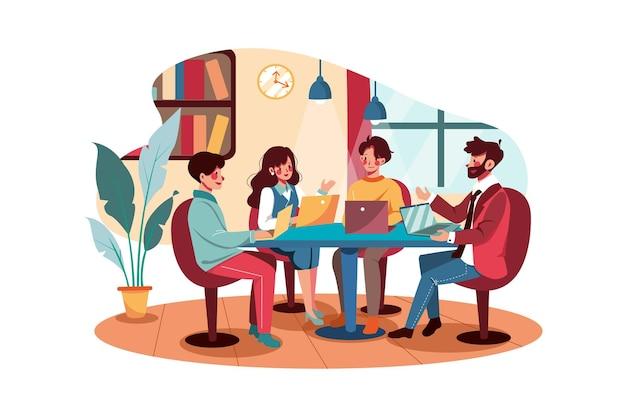 Деловые люди, встречающиеся в офисе
