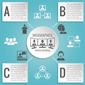 Business people meeting infographics template