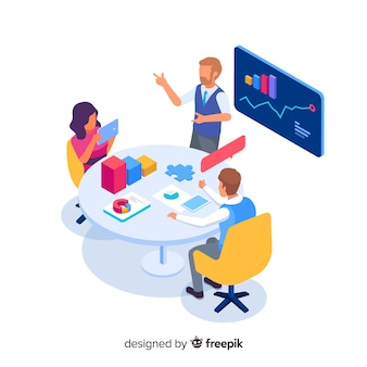 Business people in a meeting isometric illustration