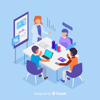 Business people in a meeting isometric
