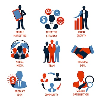 Business people meeting managements icons set of mobile marketing effective strategy rapid growth isolated vector illustration