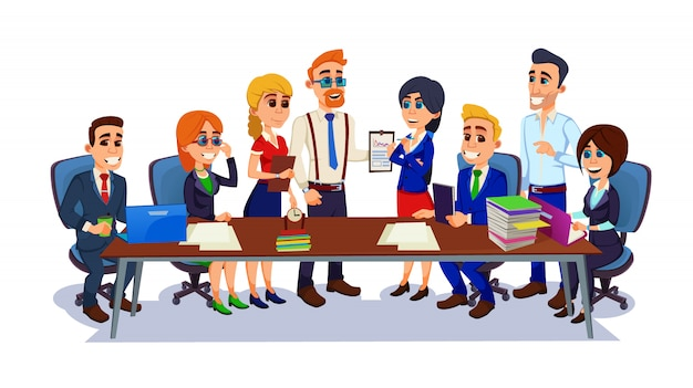 Business people meeting, office workers at table.