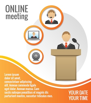 Business people meeting poster template