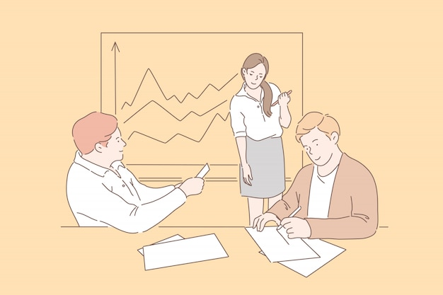 Business people at a meeting . smiling businessmen and business woman working together in the office at the workplace. a girl and guys at a meeting analyzing finance growth or profits.