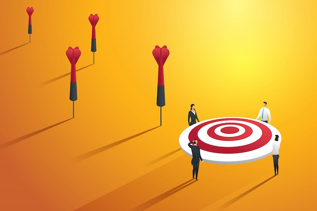 Business people missing the target and not success. illustration