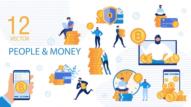 Business people and money flat vector concepts set