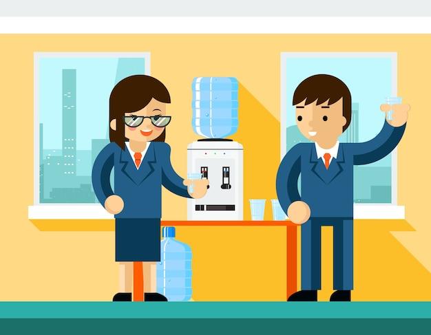 Деловые люди возле кулера для воды. дизайн офиса, бутылка и человек бизнесмен