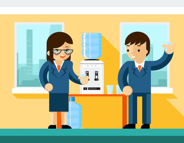 Business people near water cooler. office design, bottle and person businessman