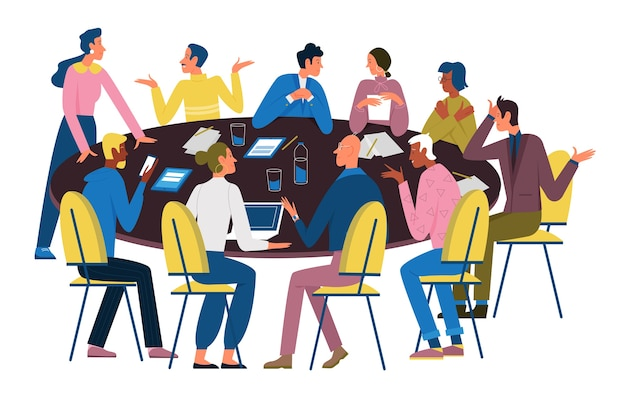 Business people negotiate at round table