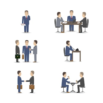 Business people negotiations scenes set