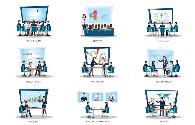 会議やチームワークのビジネスの人々
