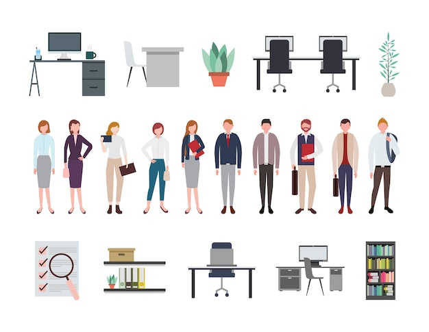 Business people and office equipment icons