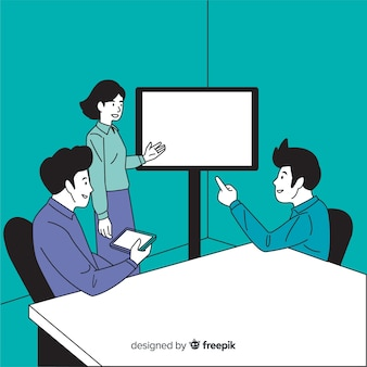 Business people at the office in korean drawing style