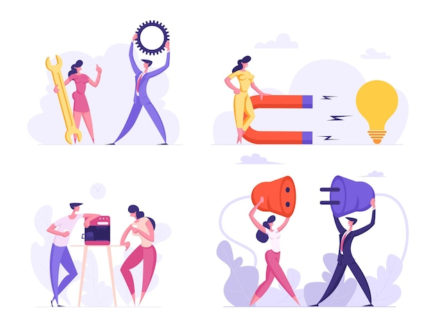 Business people office life routine flat illustration