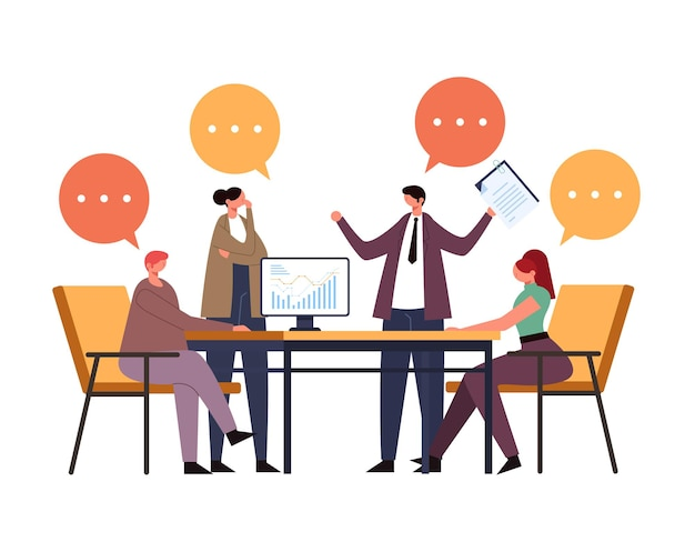 Деловые люди, офисные работники, персонажи коллективного командного мышления. концепция процесса рабочего проекта.