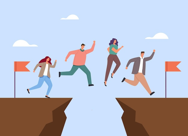 Business people office workers characters jumping above gap. teamwork concept.