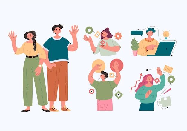 비즈니스 활동 작업 조직에 참여하는 비즈니스 사람들이 직장인 문자