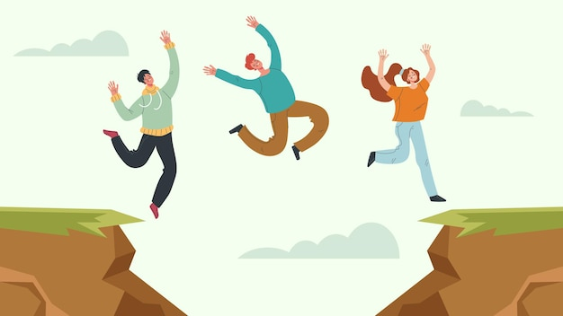 Business people office workers team jump over rock concept