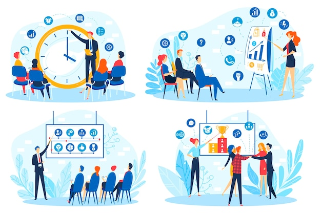 セミナー、企業のコーチングトレーニングのビジネス人々のベクターイラストビジネスマン学生チームがプレゼンテーションデータのトレーナーと会う