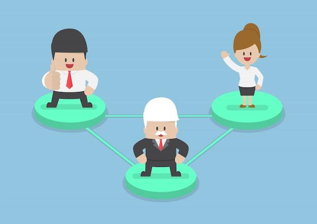 Деловые люди на узле, соединенном сетевыми линиями