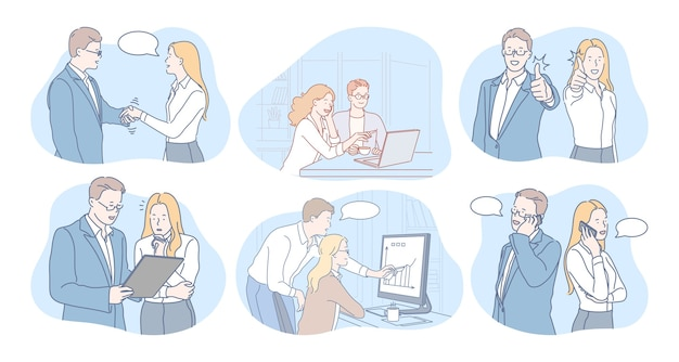 Business people partners coworkers cartoon characters discussing projects
