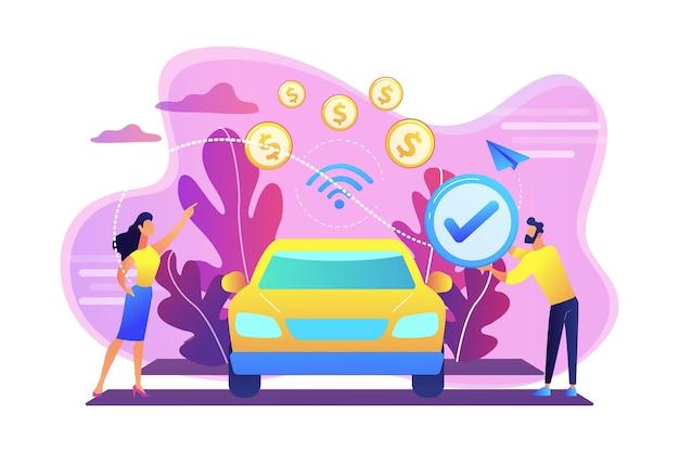 車内決済システムを搭載した車内で支払うビジネスマン。車内決済、車載決済技術、最新の小売サービスコンセプト。明るく鮮やかな紫の孤立したイラスト