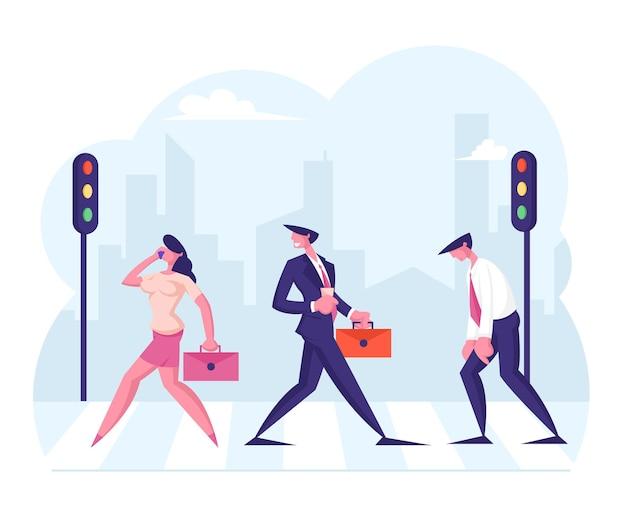 얼룩말 남성과 여성 캐릭터에 의해 도시 거리를 걷는 비즈니스 사람들 보행자