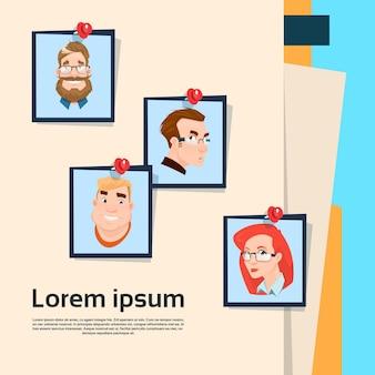 Business people photos on document folder
