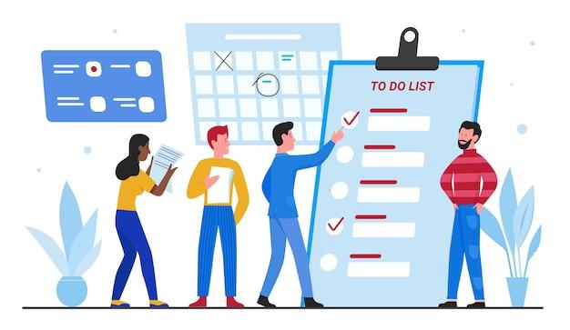 イラストを計画しているビジネスマン。リストプランナーチェックリスト、チームワーク時間管理の概念を行うために大きな隣に立っている小さなビジネスマンマネージャーキャラクターチーム