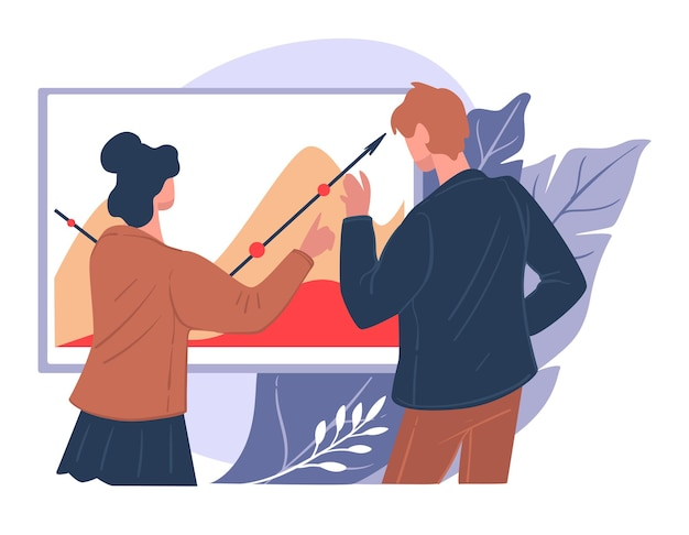 Business people planning new business strategy, implementing innovations and leading company to success. management and increasing profits. man and woman looking at chart, vector in flat style