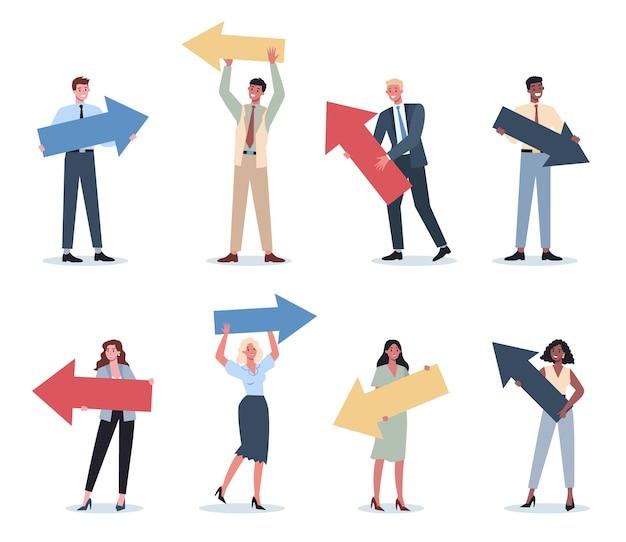 大きな矢印で何かを指しているビジネスマンは、笑顔で何かを見せている女性と男性のビジネスワーカーを設定します。成功した従業員、達成の概念。