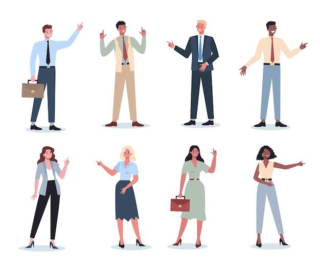何かセットを指摘するビジネスマン。女性と男性のビジネスワーカーが笑顔でジェスチャーで何かを示しています。成功した従業員、達成の概念。