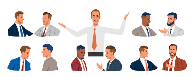 Business people portrait. set of various business men in business clothes, mixed age expressing positive emotions.