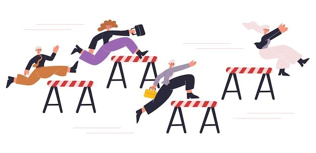 ビジネスマンのプロの企業競争は比喩に挑戦します。ハードルレースのベクトルイラストを競うオフィスキャラクター。従業員は比喩の競争をスティープルチェイスします
