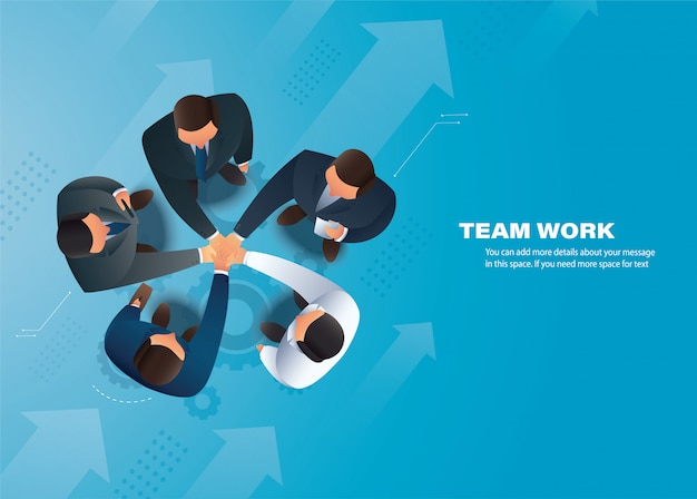 Business people putting their hands together, team work