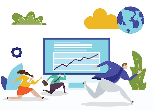 Business people race. concept business illustration. vector flat