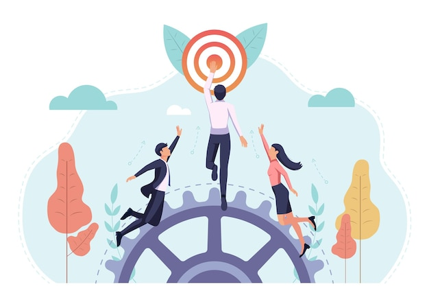 Business people race to reach the target first. busienss target and competition cnocept.